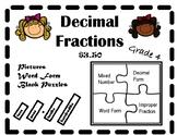 Decimal Fraction Puzzle Sort Grade 4 $3.50