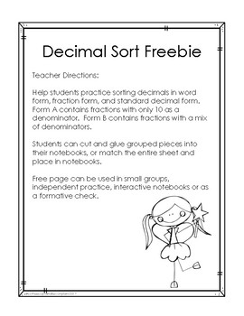 Decimal Fraction Sort Freebie