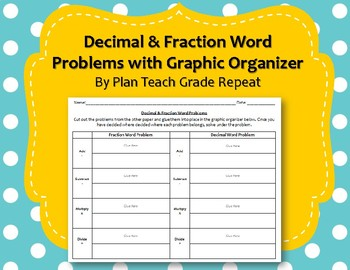 Decimal & Fraction Word Problems with Graphic Organizer