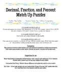Decimal, Fraction, and Percent Match Up Puzzles