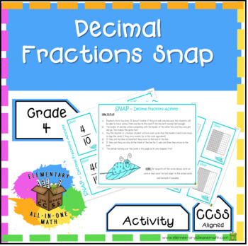 Decimal Fractions - Snap Game Activity - 4th Grade Fractions (4.NF.5)