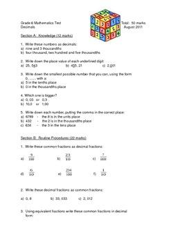 Decimal Fractions Test