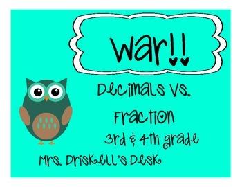 Decimal & Fractions WAR GAME