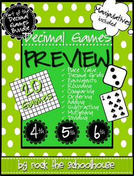 Decimal Games PREVIEW {Free Manipulatives}