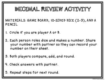 Decimal Review Activity