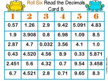 Decimal Games - Roll Six Read and Compare Decimals