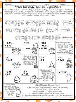 Decimal Halloween Activity Crack the Code
