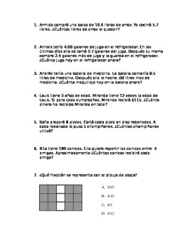 Decimal Homework/Activity STAAR Spanish Part 2