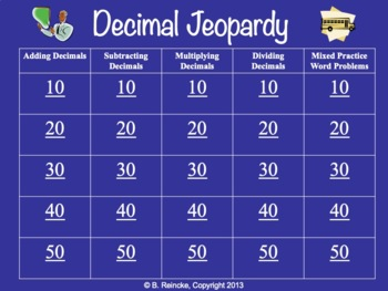 Decimal Jeopardy (Adding, Subtracting, Multiplying, Dividing, Word Problems)