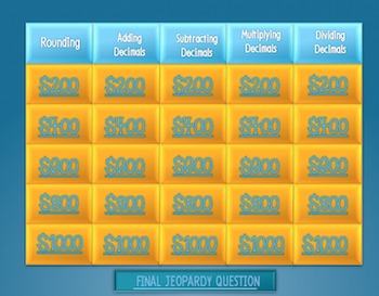 Decimal Jeopardy Game!