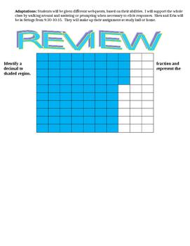 Decimal Lesson Plan, Review, Leveled Webquests, Exit Slips