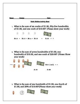 Decimal Lesson using Money