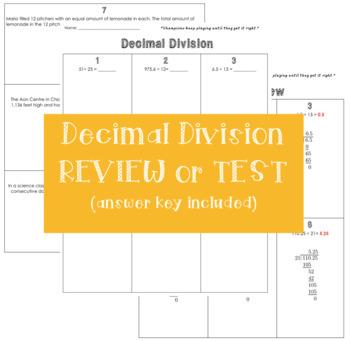 Decimal Long Division Review or Test