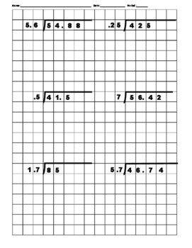 long division on grid worksheet breadandhearth. Black Bedroom Furniture Sets. Home Design Ideas
