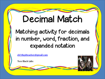 Decimal Match:  Activity for Number, Word Name, Fraction,