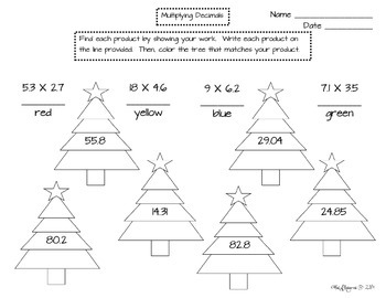 Decimal Match Christmas Trees- 5.NBT.B.7