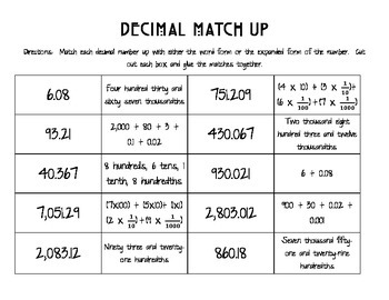 Decimal Match Up
