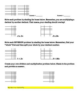 Decimal Match (common core visual rep. of multiplying and dividing decimals)
