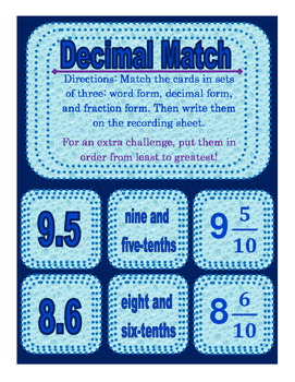 Decimal Matching Center