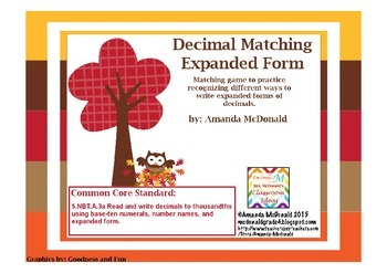 Decimal Matching Expanded Form