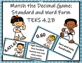 Decimal Matching Game Task Cards TEKS 4.2B, 4.NBT.2