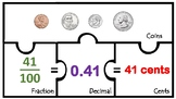 Decimal Math Centers Work Station Money Fractions DECIMALS fraction coins match