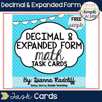 Decimal Math & Expanded Form Task Cards: Freebie Sample {CCSS Aligned}