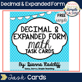 Decimal Math & Expanded Form Task Cards: Freebie Sample {C