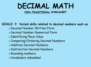 Addition/Subtraction Decimals  (Non-Traditional Engaging Worksheet)