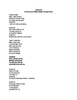 Decimal Math Song