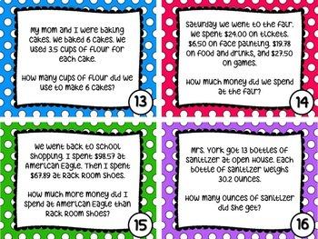 Decimal Math Task Cards: Adding, Subtracting & Multiplying Decimals