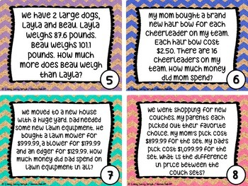 Decimal Math Task Cards PART 2: Adding, Subtracting & Multiplying Decimals