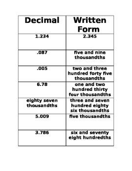 Decimal Math - tenth, hundredth, thousandth