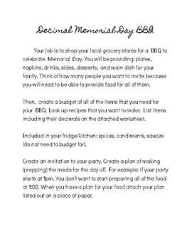 Decimal Memorial Day BBQ