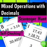 Decimal Mixed Operations Scavenger Hunt Activity