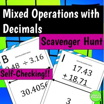 Decimal Mixed Operations Scavenger Hunt Activity