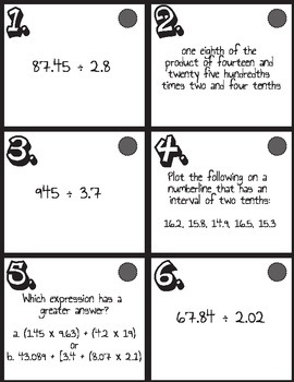 Decimal Mixed Review Task Cards- 2 leveled versions