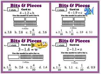 Decimal Model Subtraction Task Cards 5.NBT.B7 Common Core BUNDLE