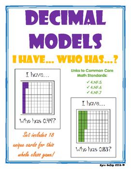 Decimal Models: I Have Who Has