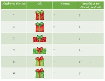 Decimal Money Math Game ~ Roll-a-Gift