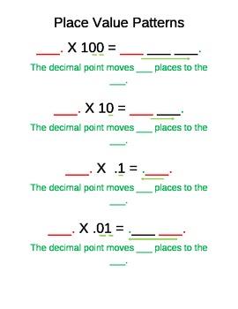 Decimal Movement Patterns Posters
