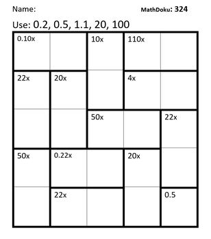 Decimal Multiplication: 39 MathDoku Puzzles For Practice