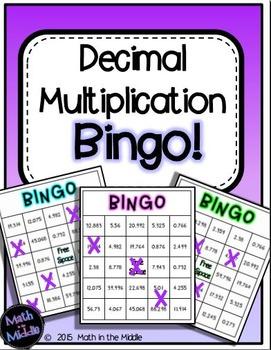 Decimal Multiplication Math Bingo - Math Review Game