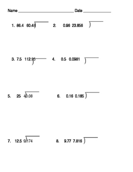 Decimal Multiplication & Division Assessment