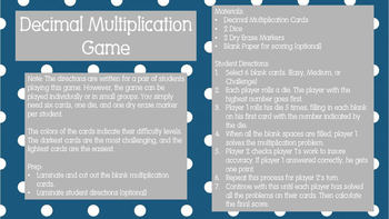 Decimal Multiplication Game