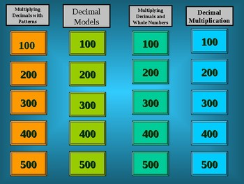 Decimal Multiplication Jeopardy Game