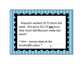 Decimal Multiplication Modified Word Problem Boom Card Deck