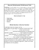 Decimal Multiplication Performance Task