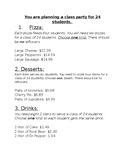 Decimal Multiplication Practice Party Planning