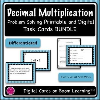 Decimal Multiplication Printable and Digital Task Cards BUNDLE {Differentiated}